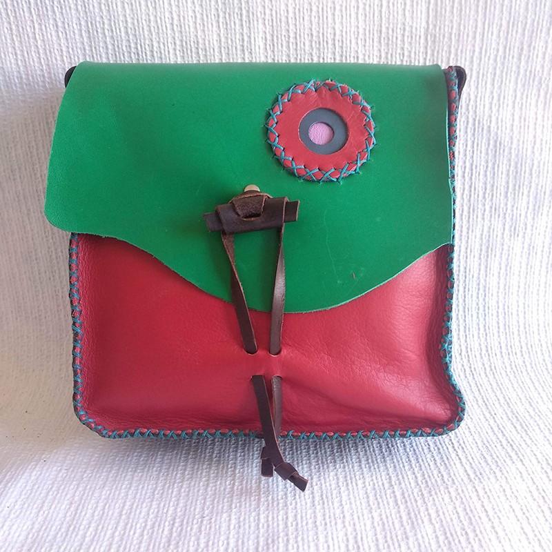 Bolso cuadrado rojo-verde