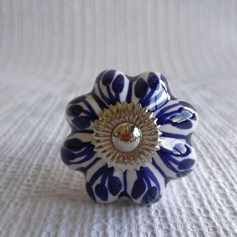 Pomo cerámica azul