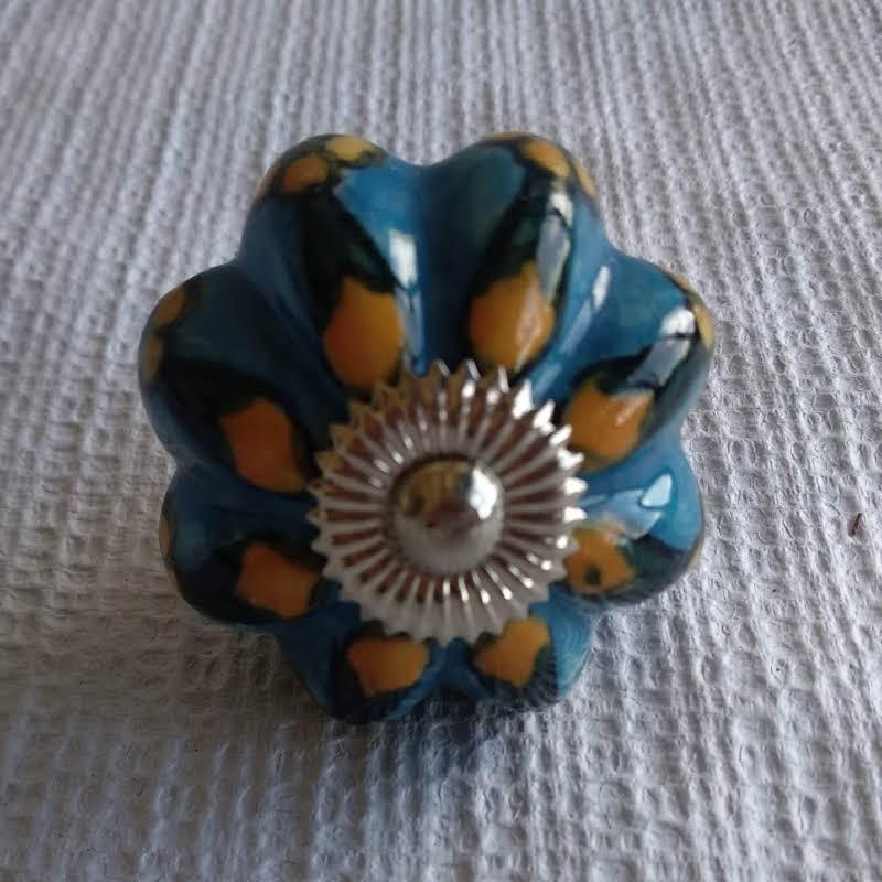 Pomo cerámica azul y mostaza